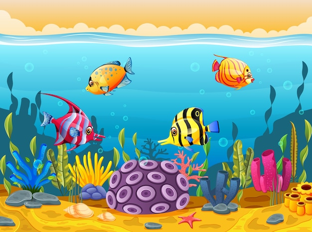 Dibujos Animados De Peces Lindos En El Mar