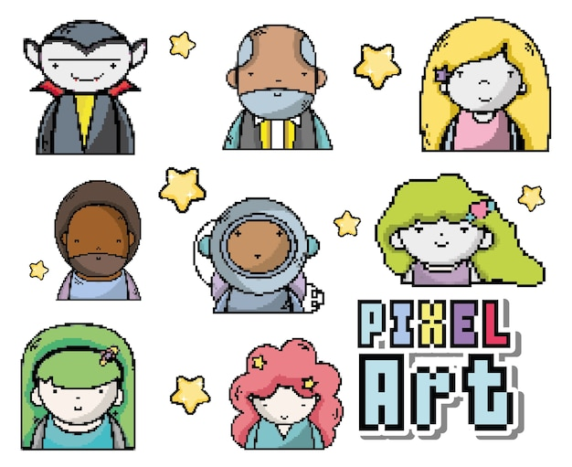 Dibujos animados de personajes de pixel vector diseño gráfico de ...