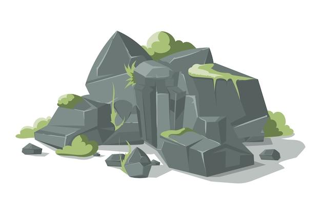 Dibujos animados de piedras y rocas grises descargar - Dibujos de piedras ...