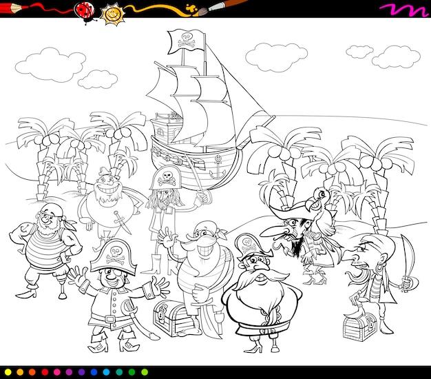 Dibujos animados de piratas para colorear   Descargar Vectores Premium