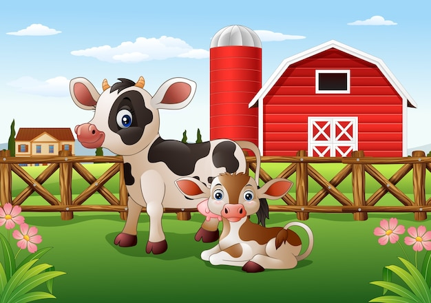 Imagenes Vacas Animadas: Dibujos Animados De Vaca Y Ternero Con Fondo De Granja