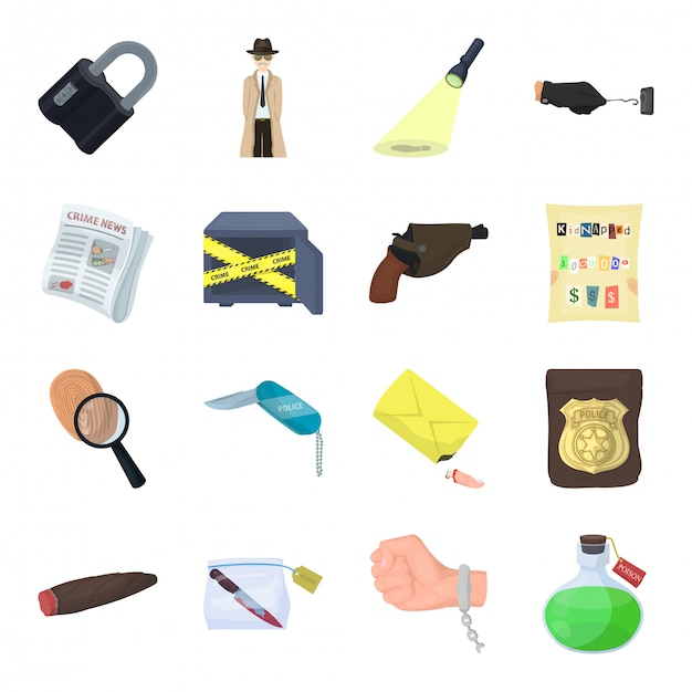 Dibujos animados detective establece icono. crimen dibujos animados aislados conjunto icono detective. Vector Premium