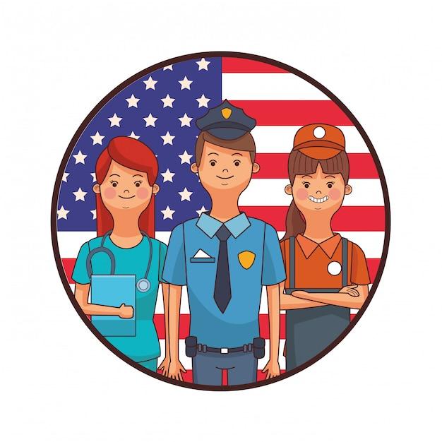 Dibujos animados del día del trabajo americano Vector Premium