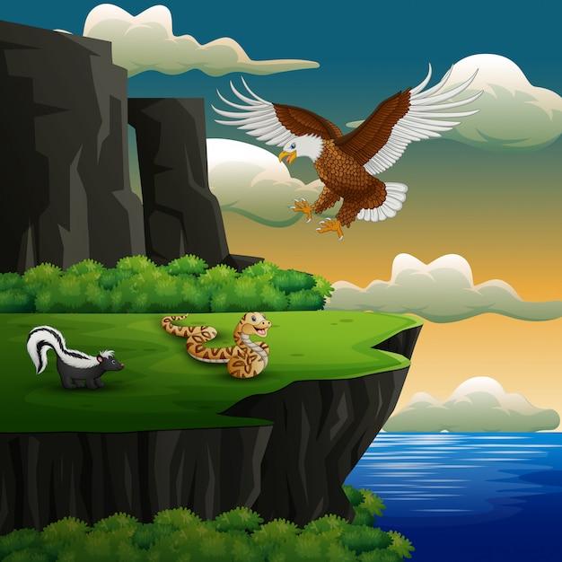 Dibujos animados de diferentes animales en el acantilado Vector Premium