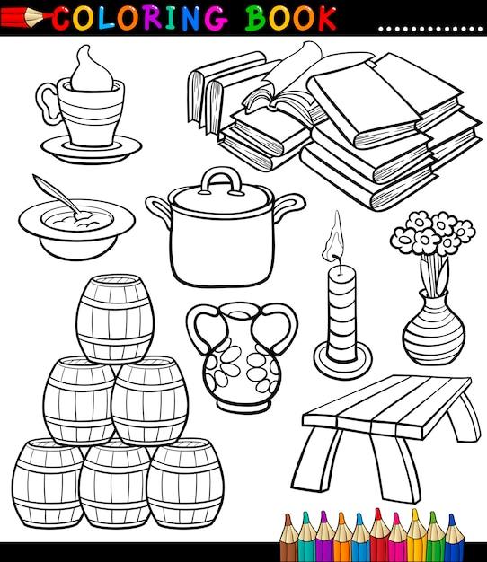 Dibujos Animados Diferentes Objetos Para Colorear Página