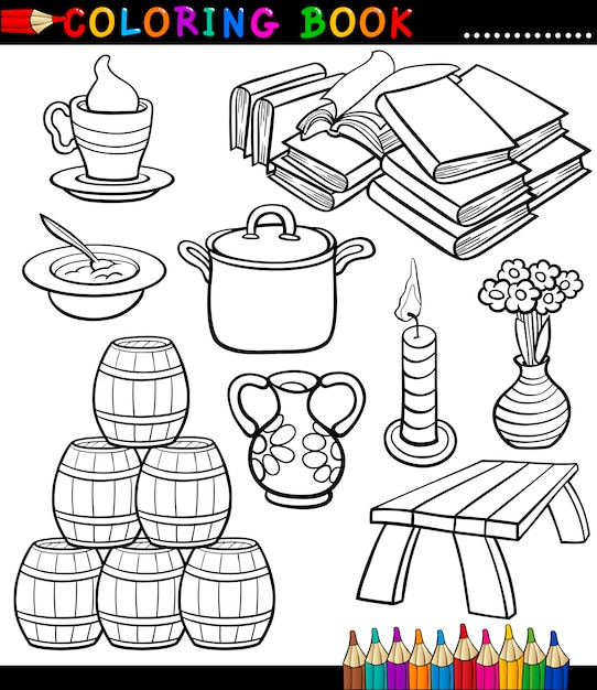 Dibujos animados diferentes objetos para colorear página | Descargar ...