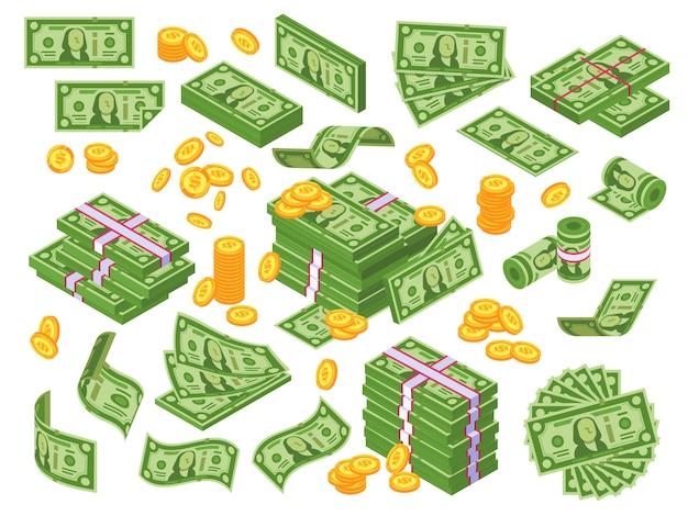 Dibujos animados de dinero. billetes de dólar apilados y monedas de oro Vector Premium