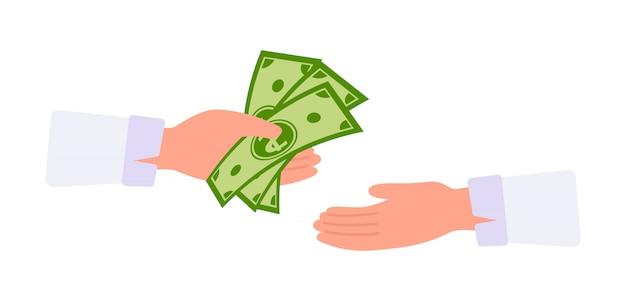 Dibujos animados de dinero en mano. concepto de pagos en efectivo.  empresario manos toma dinero de cambio | Vector Premium