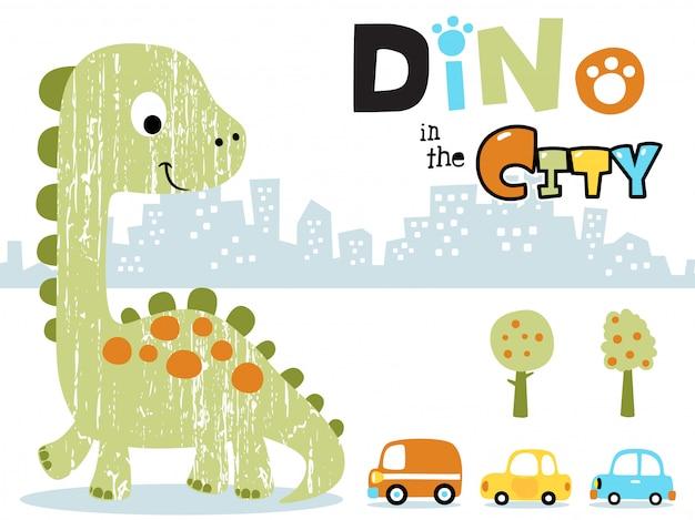 Dibujos animados de dinosaurio grande en la ciudad Vector Premium