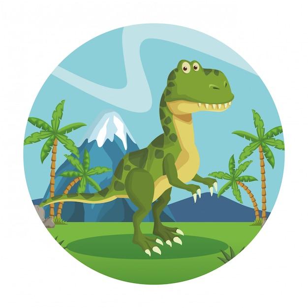 Dibujos animados de dinosaurios tiranosaurio Vector Premium