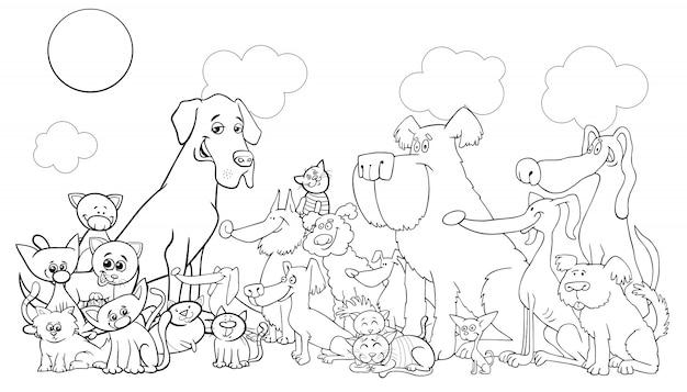 Dibujos Animados Divertido Perro Y Gatos Para Colorear Libro