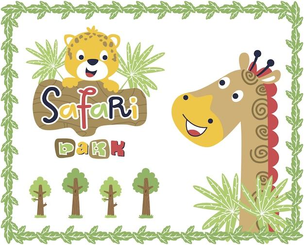 Dibujos animados divertidos de animales en el marco de las hojas ...