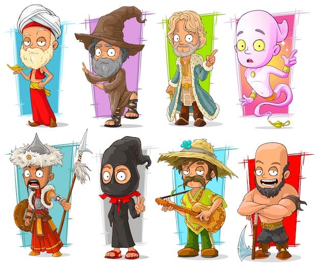 Dibujos animados divertidos personajes diferentes divertidos Vector Premium