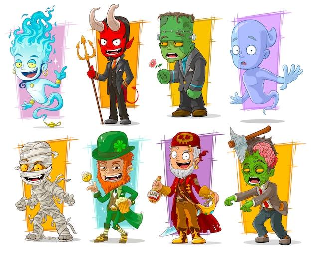 Dibujos animados divertidos personajes monstruos divertidos Vector Premium