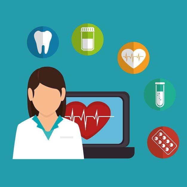 Dibujos Animados Doctor Mujer Portátil Corazón Salud Iconos