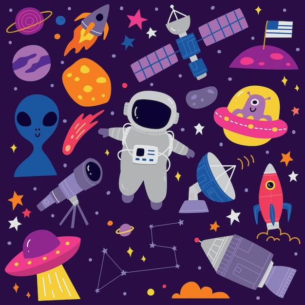 Dibujos animados de doodle lindo espacio Vector Premium
