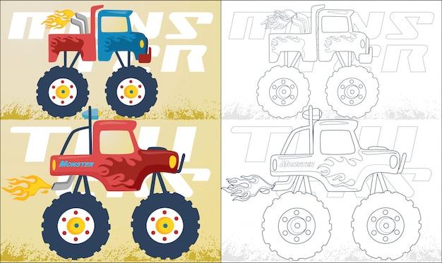 Dibujos animados de dos camiones monstruo Vector Premium