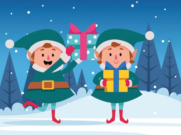 Dibujos animados de duendes de navidad con cajas de regalo, coloridas Vector Premium