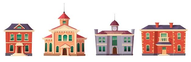 Dibujos animados de edificio de estilo colonial retro urbano vector gratuito