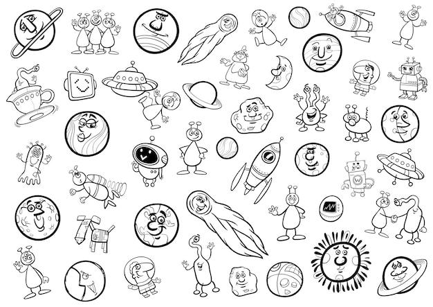 Dibujos animados de espacio conjunto para colorear | Descargar