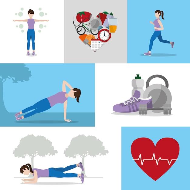 Dibujos Animados De Estilo De Vida Hábitos Saludables Descargar