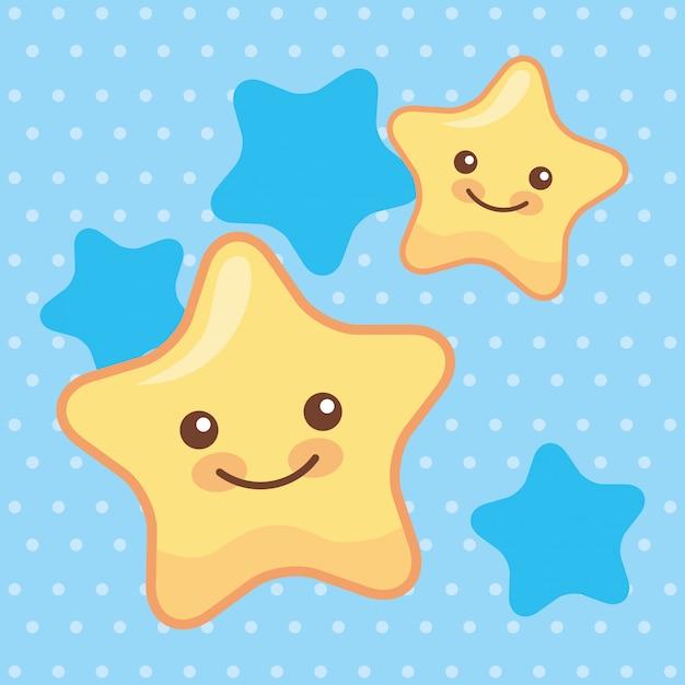 Dibujos Animados De Estrellas Lindas Sonrientes Vector Premium