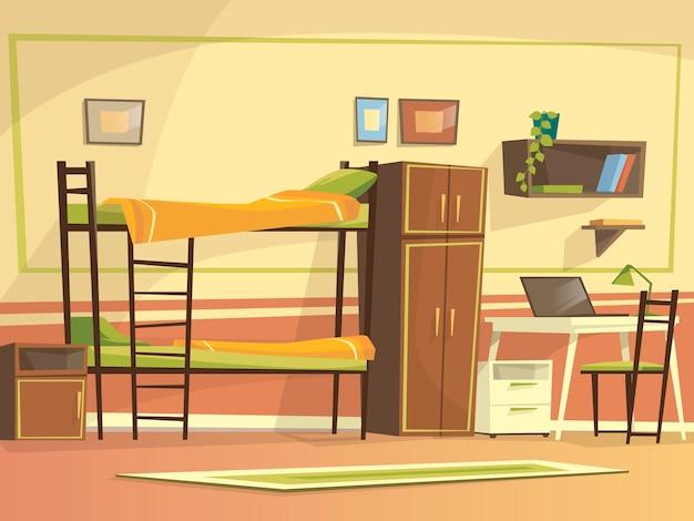 Dibujos animados estudiante dormitorio habitaci n interior for Dormitorio animado