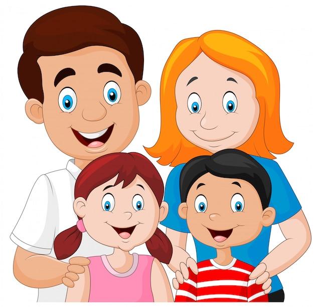 Dibujos Animados De Familia Feliz Descargar Vectores Premium