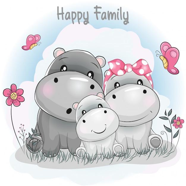 Dibujos animados de la familia del hipopótamo lindo Vector Premium