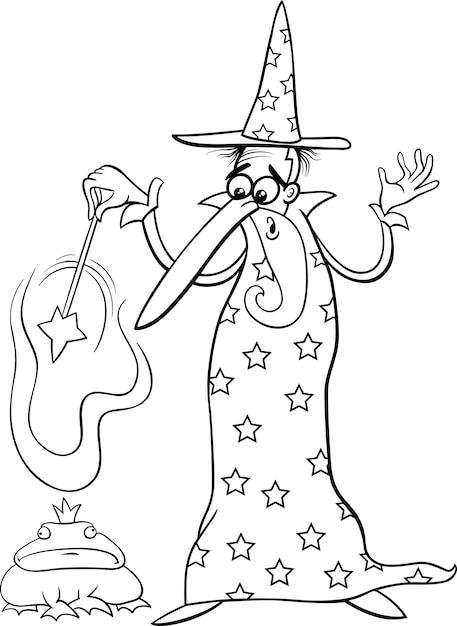 Dibujos animados de fantasía de mago para colorear | Descargar ...