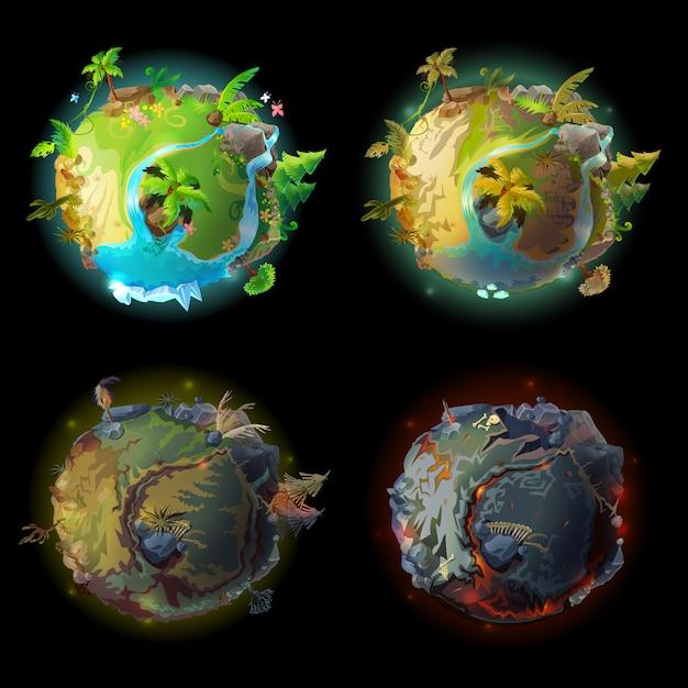 Dibujos Animados Fantástico Planeta Tierra Conjunto De Evolución