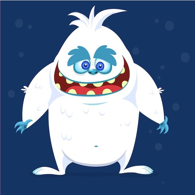 Dibujos animados feliz monstruo yeti bigfoot. ilustración vectorial para halloween Vector Premium