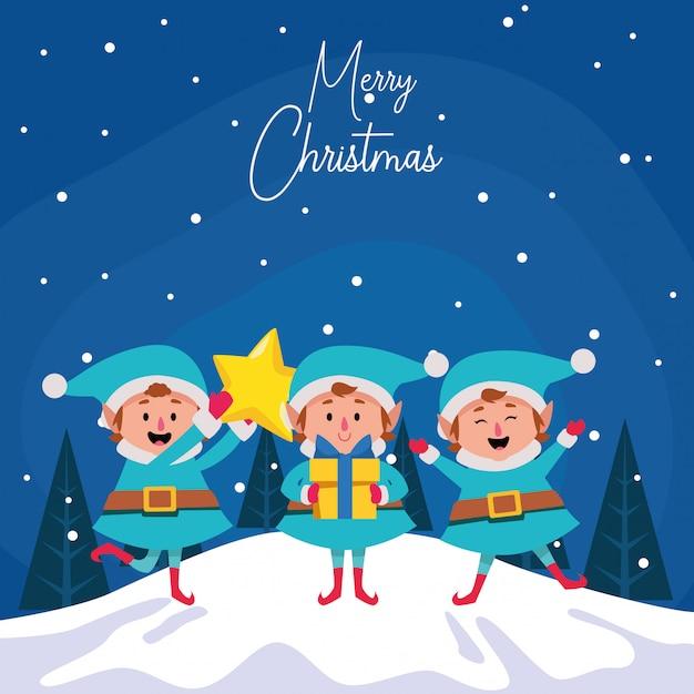 Dibujos animados feliz navidad elfos con estrella y caja de regalo durante la noche de invierno, colorido, ilustración Vector Premium