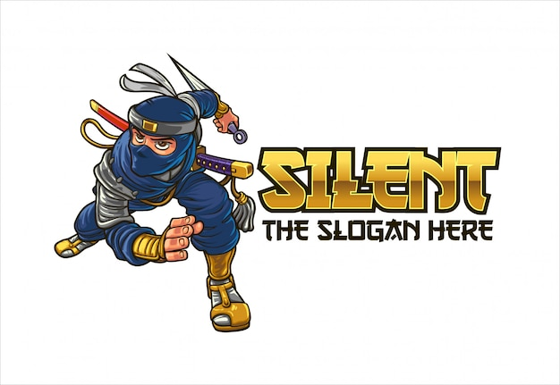Dibujos animados feroz ninja personaje mascota logo Vector Premium