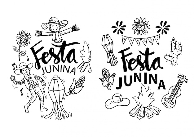 Dibujos animados de festa junina Vector Premium