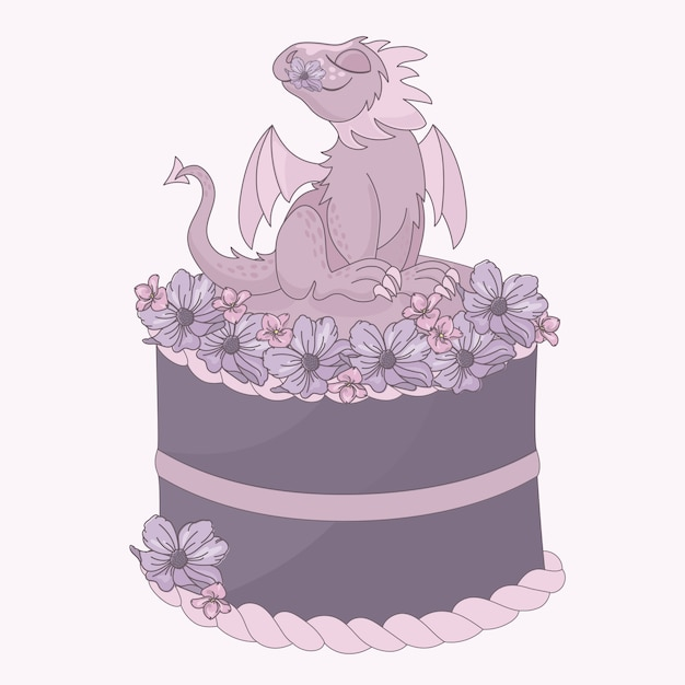Dibujos animados de fiesta de cumpleaños de dragon cake Vector Premium