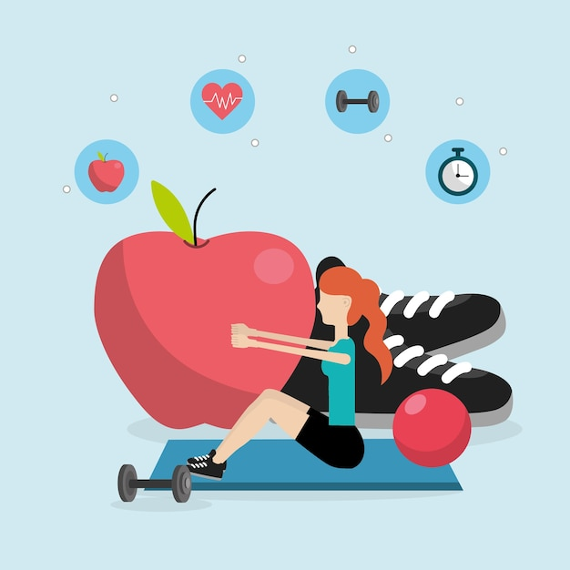 Dibujos animados de fitness de salud Vector Premium