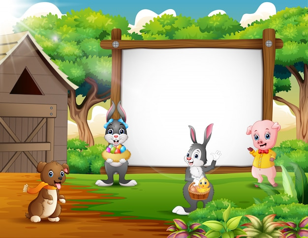 Dibujos animados de fondo de pascua con animales de granja Vector Premium