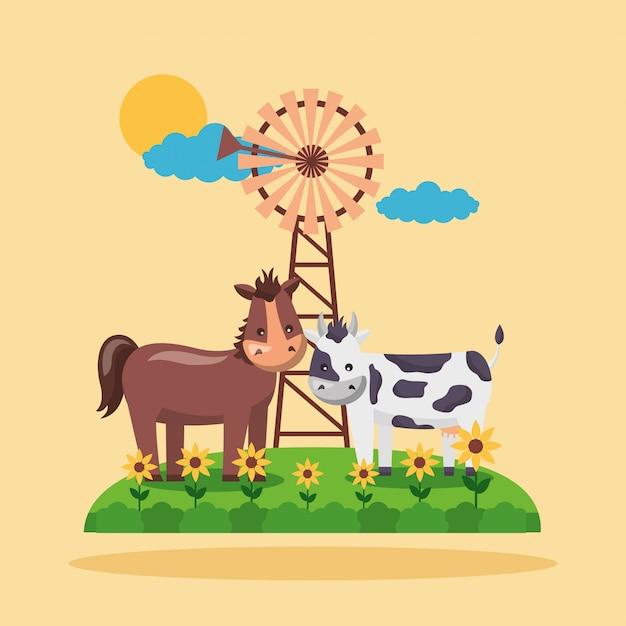 Dibujos animados frescos de granja vector gratuito