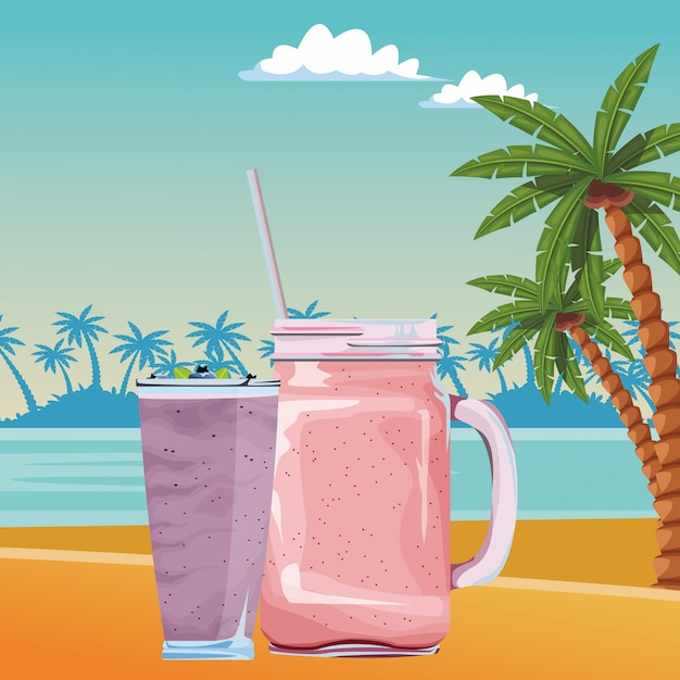 Dibujos animados de frutas batido tropical bebida vector gratuito