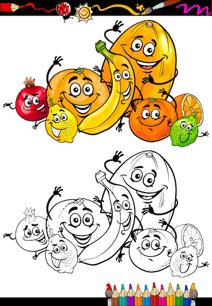 Dibujos animados de frutas cítricas para colorear libro | Descargar ...