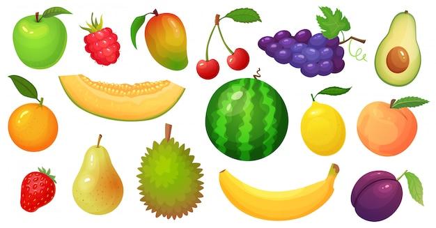 Dibujos animados de frutas. fruta de mango, rodaja de melón y plátano tropical. conjunto de ilustración de bayas de frambuesa, sandía y manzana Vector Premium