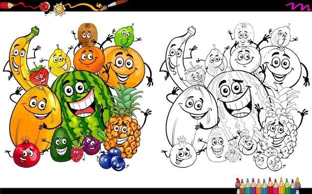Dibujos animados frutas para colorear página   Descargar Vectores ...