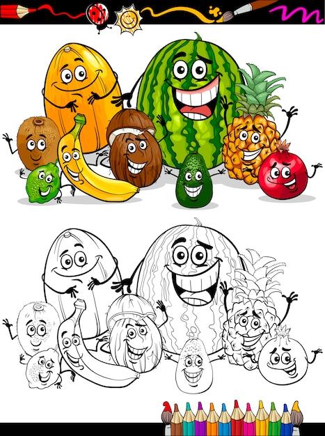 Dibujos animados frutas tropicales para colorear libro | Descargar ...