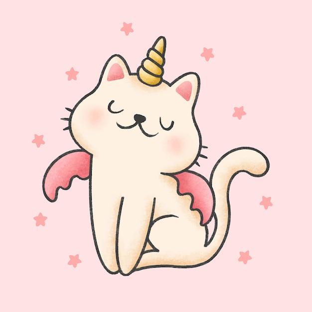 Dibujos animados de gato unicornio estilo dibujado a mano Vector Premium