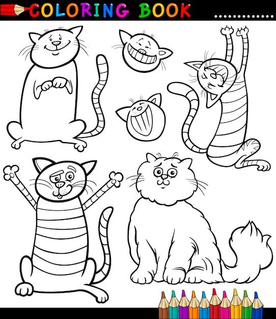 Dibujos Animados De Gatos O Gatitos Para Colorear Página