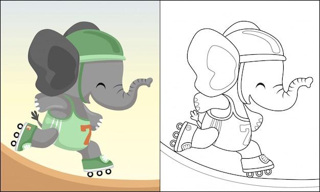 Dibujos animados gracioso elefante jugando patinar Vector Premium