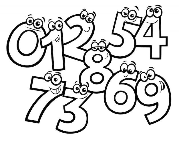 Dibujos Animados Grupo De Números Básicos Para Colorear