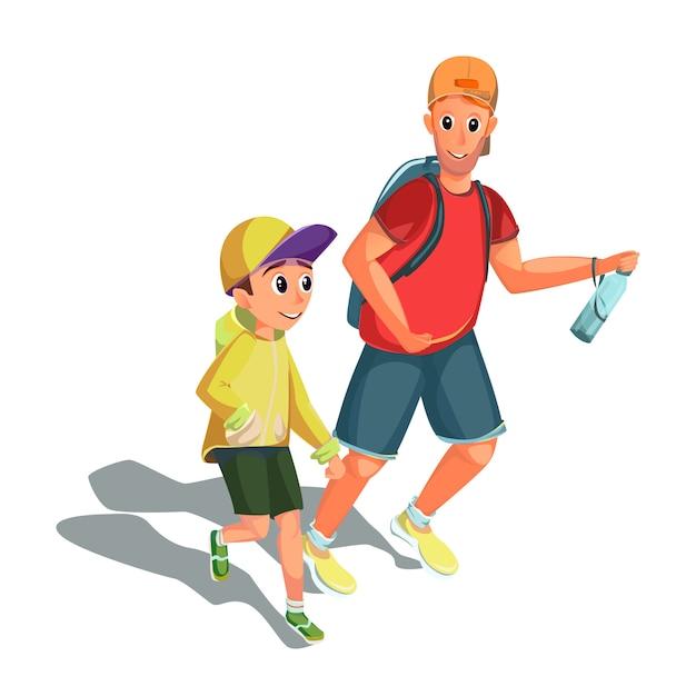 Dibujos animados hombre chico corriendo deporte familiar actividad Vector Premium