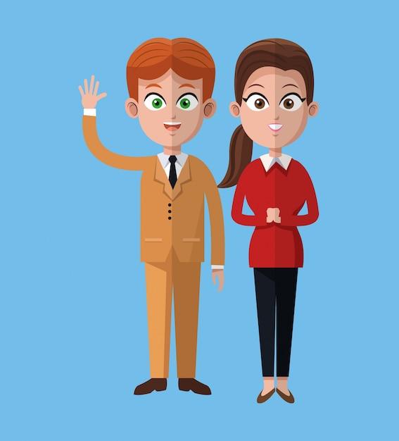 Dibujos Animados Hombre Y Mujer Juntos Oficina De Trabajo